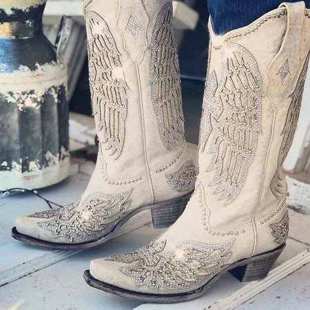 Bright Cross and Wings Cowboy Boots